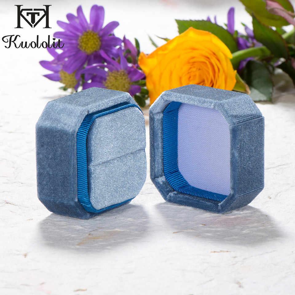 Kuololit خطوبة اليدوية علبة مخمليّة الملمس الزفاف الشخصية خاتم أقراط صندوق للنساء الوردي الأزرق مجوهرات عرض التعبئة بالجملة