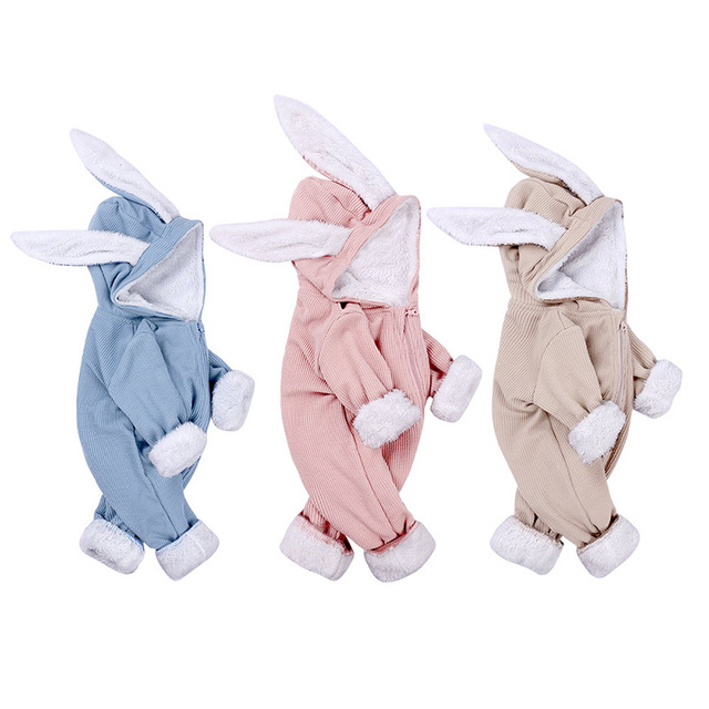 New Autumn/Winter Infant Rompers Baby Girl Boys One-pieces Newborn Body Suit Baby Pajama Rabbit Ears Cute Jumpsuit Outfits 1