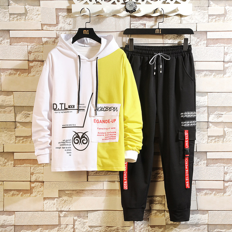 Fashion Mens Sportswear Casual Tracksuit HOODIES & Sweatshirt + Pants Trouers 2020 New Two Pieces Set Suits For Spring Autumn