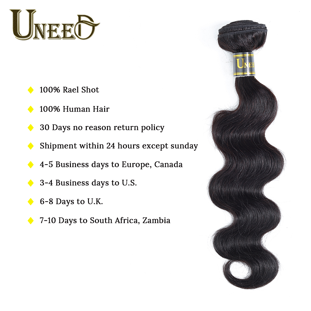Uneed Hair Peruvian Body Wave 3Bundles With Closure 100% Human Hair Bundles With Closure 1B Color Remy Hair Weave Extensions