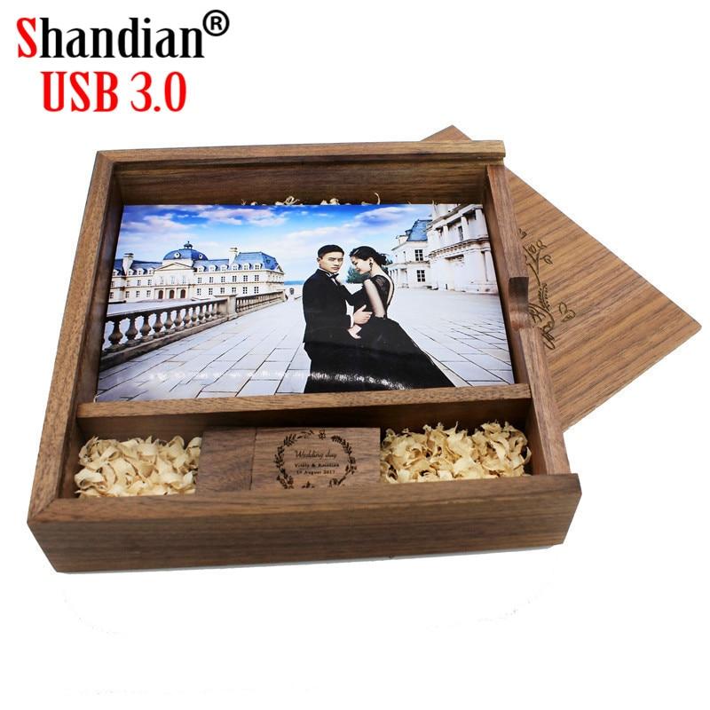 SHANDIAN Free Custom LOGO USB 3.0 Maple Photo Album Usb+Box Usb Flash Drive Pendrive 4GB 16GB 64GB Photography Album170*170*35 M