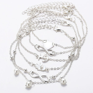 5Pcs Retro Pearl Heart Infinity Ankle Anklet Bracelet Set Bohemia Silver Foot Beach Anklets Women Fashion Barefoot Chain Jewelry