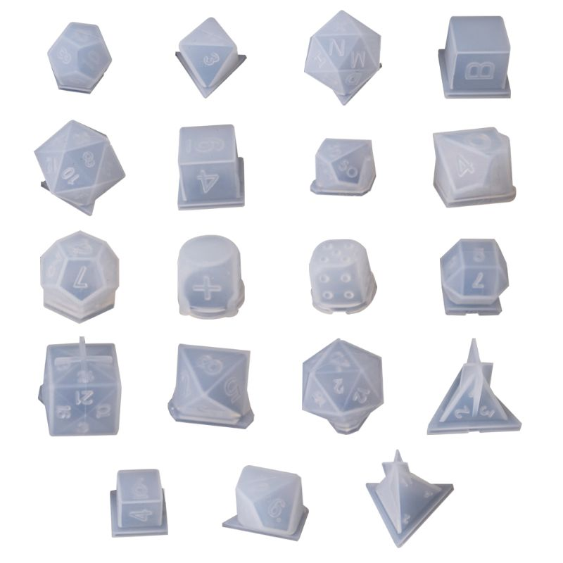 19Pcs Different DIY Crystal Epoxy Mold Dice Fillet Shape Multi-spec Digital Game Silicone Mould DIY Epoxy Coaster Crafts Making