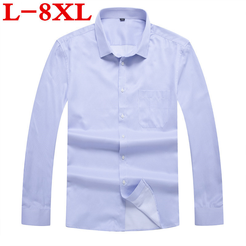 8XL 7XL Plus Size   New Arrival  100% Cotton Men's Shirt Fashion Men Striped Long Sleeved Shirt Male Slim Fit Brand Clothing