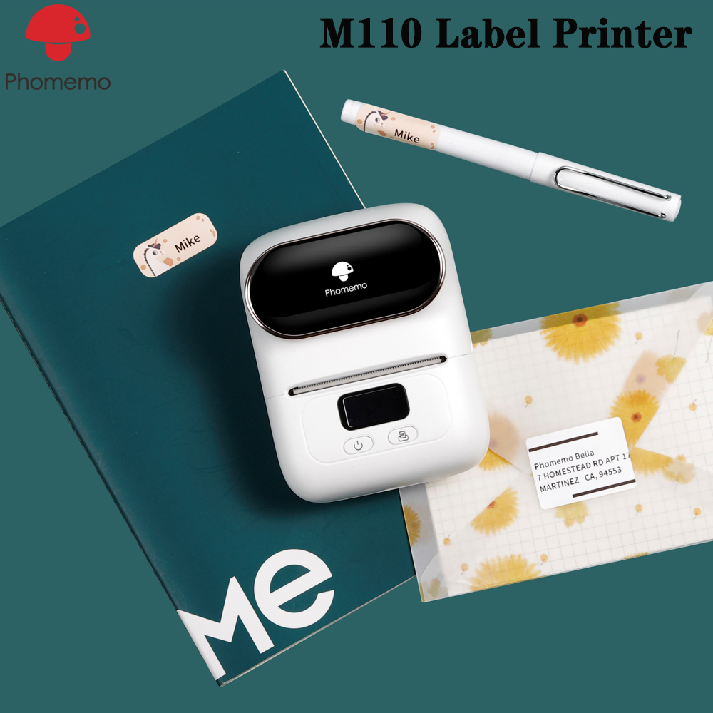Portable Phomemo M110 Label Thermal Printer Mini Bluetooth Thermal Label Maker with 1 40×30mm Apply to Labeling Office Cable image