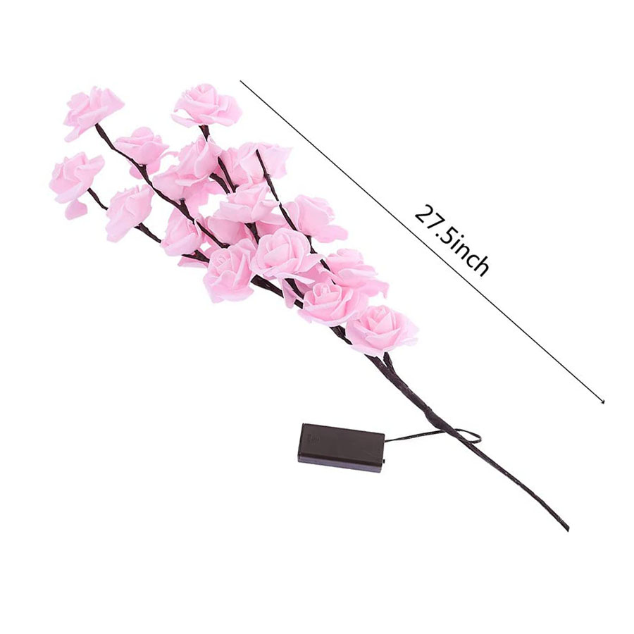 Diy led rosa flor salgueiro ramo lâmpada