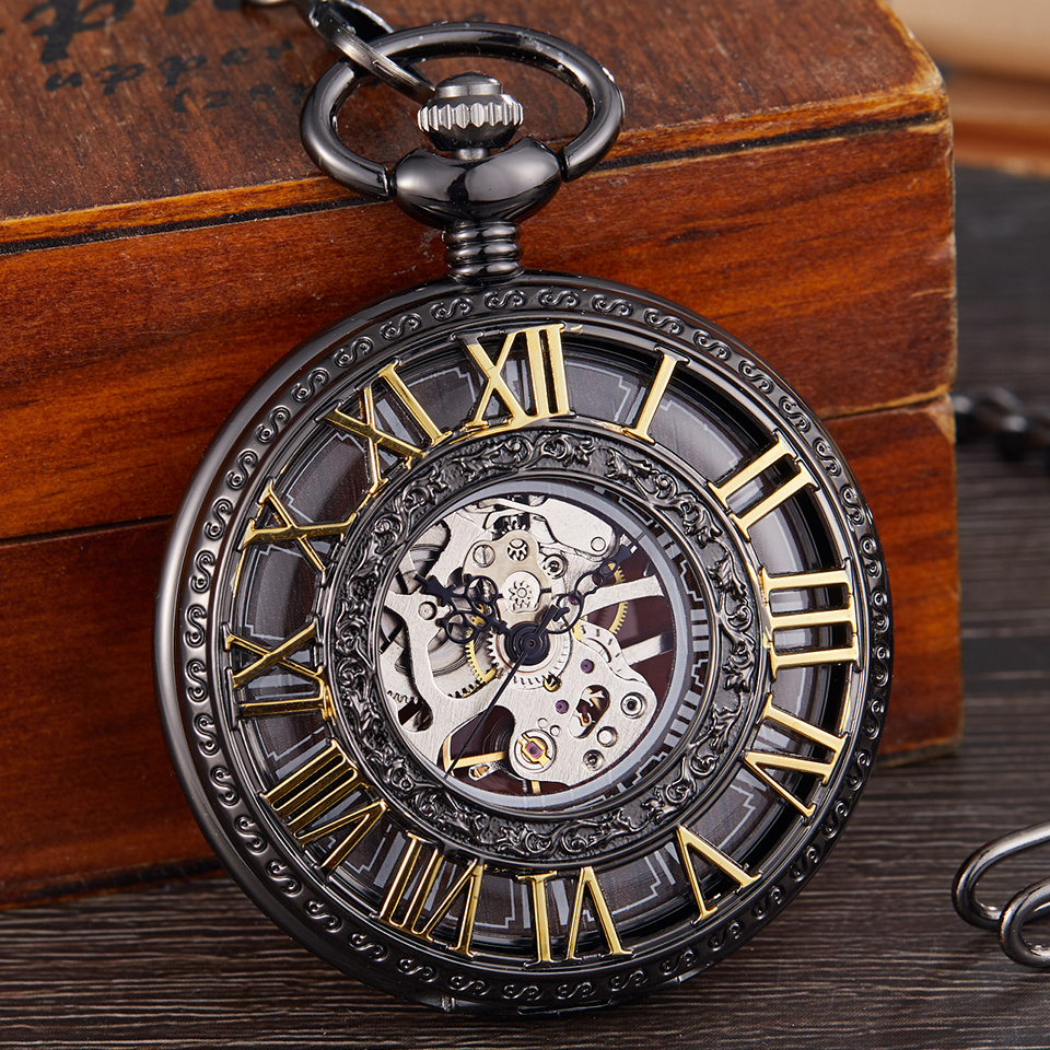 Vintage Mechanical Pocket Watch Men Women Fashion Roman Numerals Wood Hollow Fob Chain Hand Wind Steampunk Clock Skeleton Watch