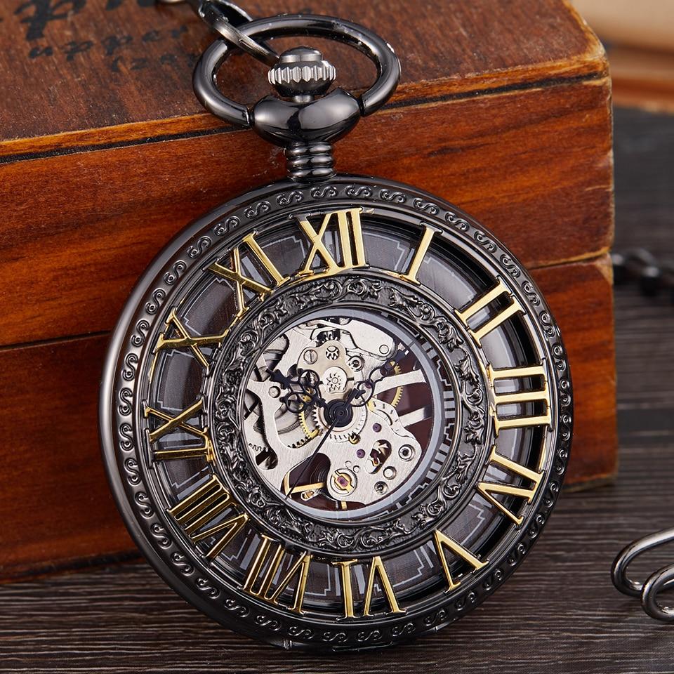 Vintage Mechanical Pocket Watch Men Women Fashion Roman Numerals Wood Hollow Fob Chain Hand Wind Steampunk Clock Skeleton Watch