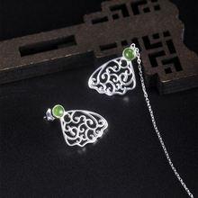Miqiao 925 серебряные серьги в виде бабочек с Камни яшмы женский