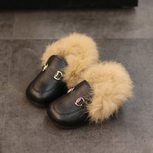 Toddler Kids Winter Shoes with One Circle Horstbit Buckle Soft Plush Liner Slip-on Little Boys Girls Casual Shoes Loafers(China)