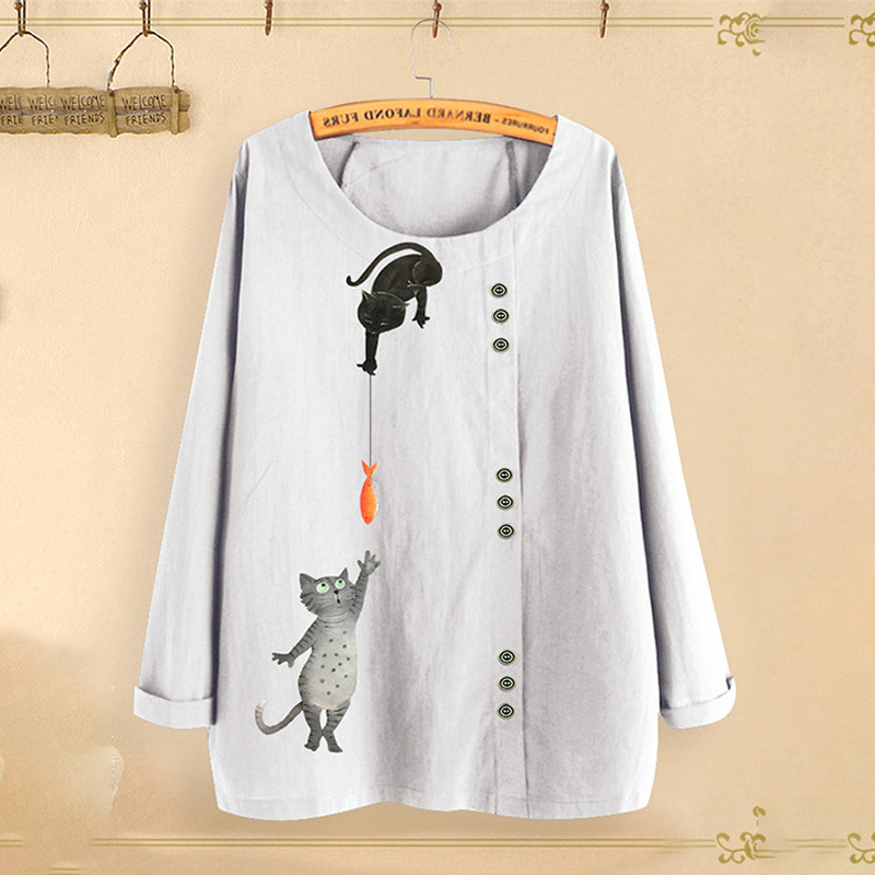 Women Cat Fish Print Shirt Tops Round Neck Long Sleeve Autumn Fall Ladies Plus Size M~3XL Loose Buttons Casual Blouse Female