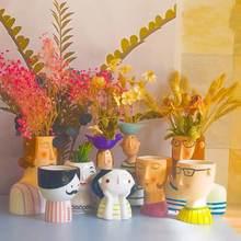 Statue Bonsai Handmade flowerpot Bum Ceramic Vase Plaster Head Portrait Sculpture Ornament Home Living Room Decor Dried Flowers