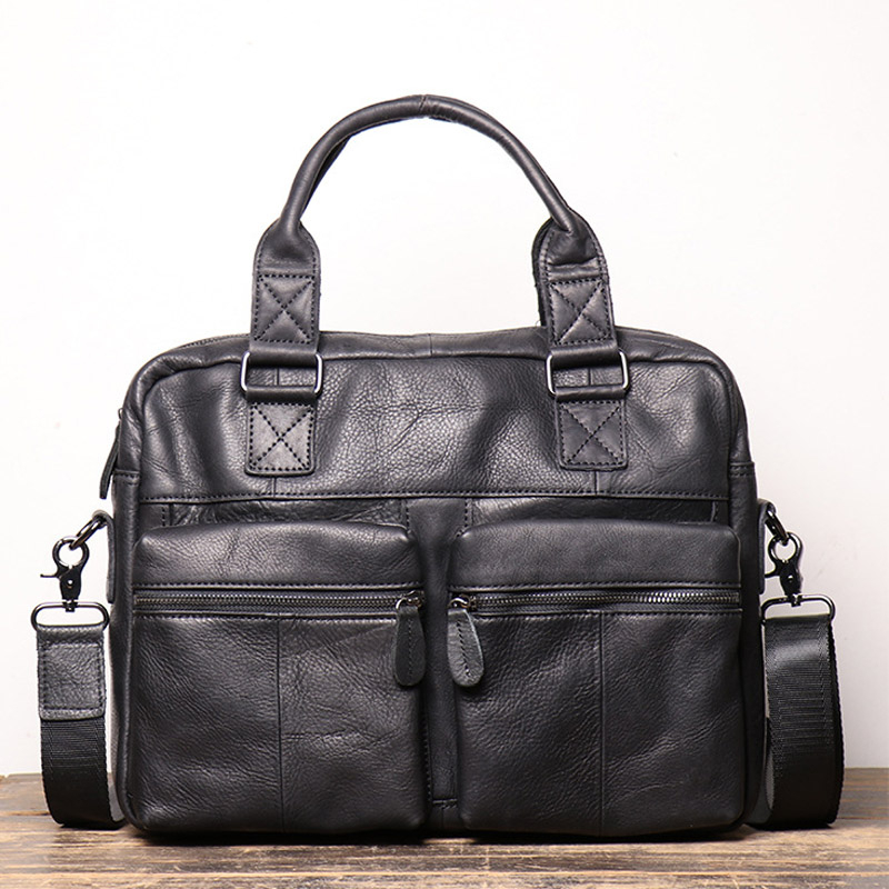 Black Genuine Leather Men's Briefcase Vintage Business Computer Bag Fashion Messenger Bags Man Shoulder Bag Postman Male Handbag