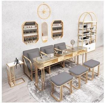 Nowy stół do malowania paznokci i zestaw krzeseł pojedynczy i podwójny stół do malowania paznokci zestaw stołowy online celebrity marmurowy stół do malowania paznokci stół do manicure tanie i dobre opinie CN (pochodzenie) Metal Salon mebli Stół paznokci Meble sklepowe