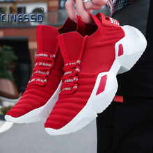 Buy CINESSD Fashion Casual Shoes Men Spring Mesh Flats Men Platform Shoes Men Sock Height Increasing Walking Footwear zapatos mujer directly from merchant!