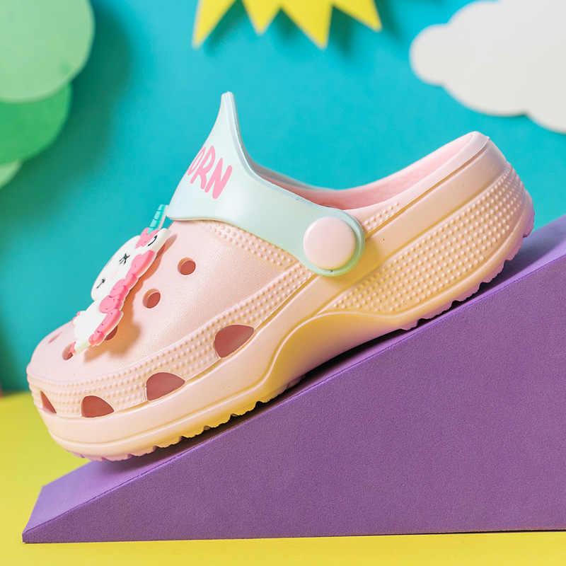 Kızlar ayakkabı takunya çocuk terlik 2019 yeni Unicorn ayakkabı erkek bebek plaj sandaletleri yumuşak EVA Toddler kızlar sandalet Flip flop çocuklar