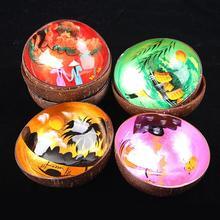 Экологичная цветная печатная креативная миска из скорлупы кокоса деревянная натуральная миска ручной работы Конфета рисовые миски соус миска украшение дома