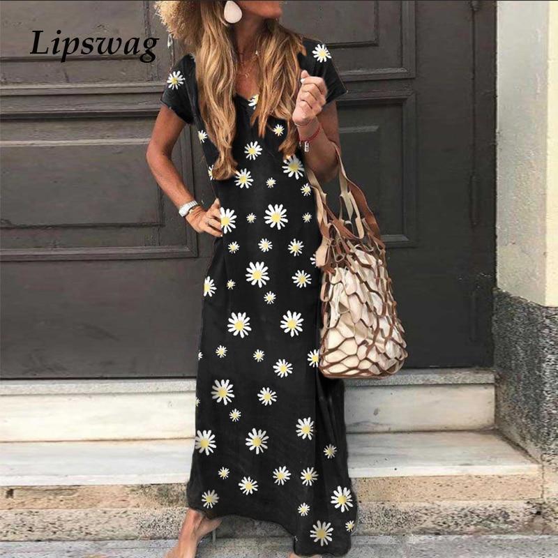 Daisy Print Women Plus Size Long Dress 2020 Casual Summer Short Sleeve Beach Sundress Sexy V-Neck Lady Maxi Party Dress Vestidos