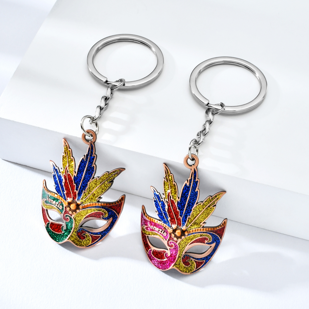Vicney New Arrival Fashion Face Key Chain For Women Glitter Keychain Keyring As Gift For Girl Friend Party Keychain For Key