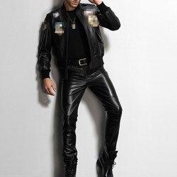 Cuoio genuino Della Mucca Mens 2020 Nuovo Dritto Pantaloni Moto Biker Pantaloni Moda Maschile di Alta Qualità Pantaloni di Marca Sottile di Grande Formato 36