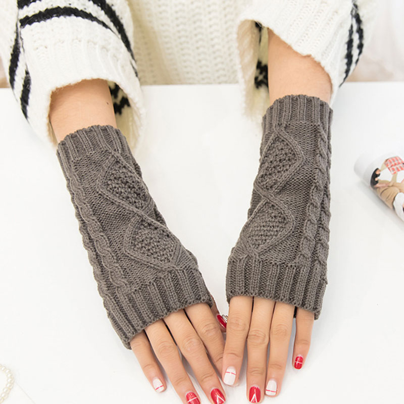 Solid Winter Gloves Women Knitted Fingerless Gloves Fashion Arm Warmer Mittens Unisex Rhombic Warm Wrist Gloves Guantes Mujer