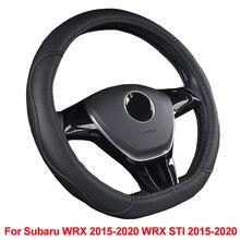 HuiER Car Steering Wheel Cover D Shape PU Leather Breathable For Subaru WRX 2015 2016 2017 2018 2019 2020 WRX STI 2015 -2020