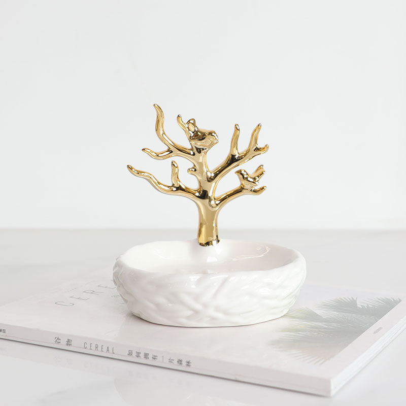 Portable Ceramics Soap Dish Gold Tree Shower Case Holder Container Storage Box Bathroom Accessories