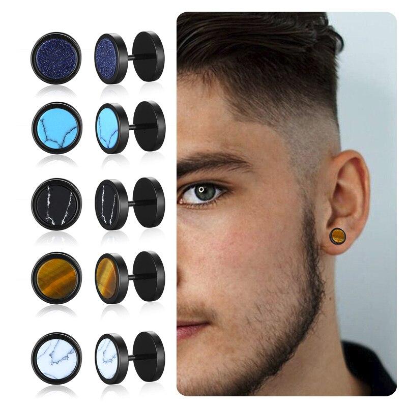 MENS SCREW STUD RETRO TIGEREYE STONE EARRING STAINLESS STEEL PLUG BARBELL EARRINGS STUDS (PAIR OF) 10MM