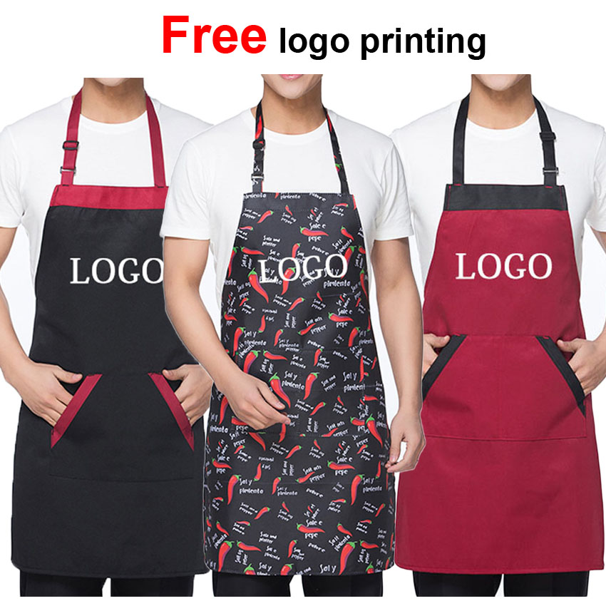 Man Woman Halter Chef Apron Uniform Food Service Chef Master Accessories Restaurant Kitchen Cafe Wear Free Logo Printing