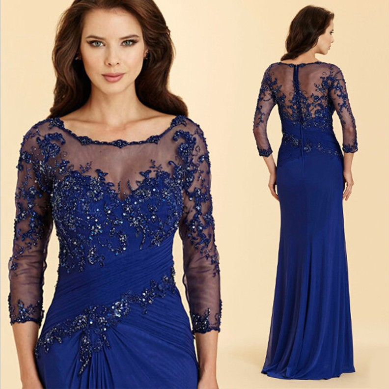 2020 Beaded Lace Royal Blue Plus Size Mermaid Mother of The Bride Dresses Chiffon Groom Godmother Dress Formal Evening Gowns
