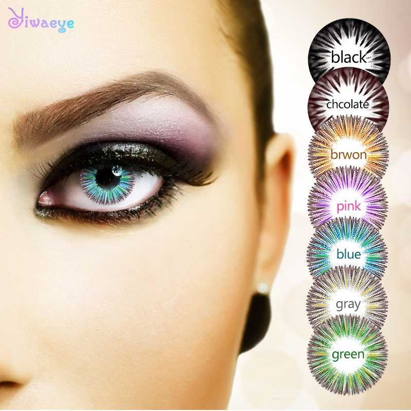Dmuchawiec piękne soczewki kontaktowe kolor źrenicy roczne rzucanie kobiece wielokolorowe Halloween Party prezent Cartoon Girl Eye Decoration