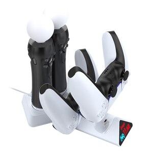 Image 1 - 4 ב 1 Quad מטען Dock טעינת Stand תחנת לפלייסטיישן 4 PS4 VR בקר DualSense Move PS ידית מטען