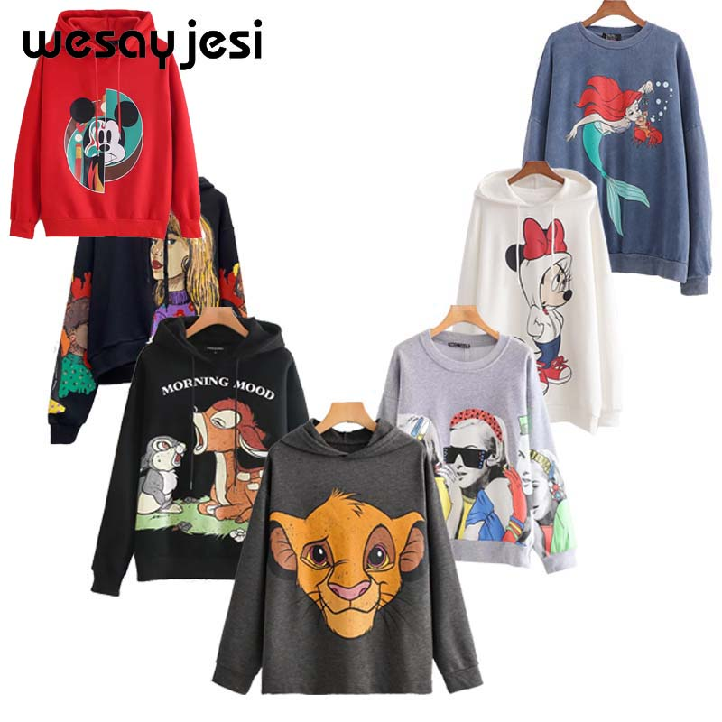 2020 Black Pink Cartoon Lion King Print Women Hoodie Long Sleeve O Neck Ladies Sweatshirt Casual Loose Womens Hoodies Pullover