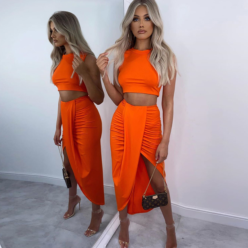 NewAsia Summer Two Piece Set Women Sleeveless Crop Top Draped Split Long Skirts Sets Solid Color Ladies Elegant Casual Outfits