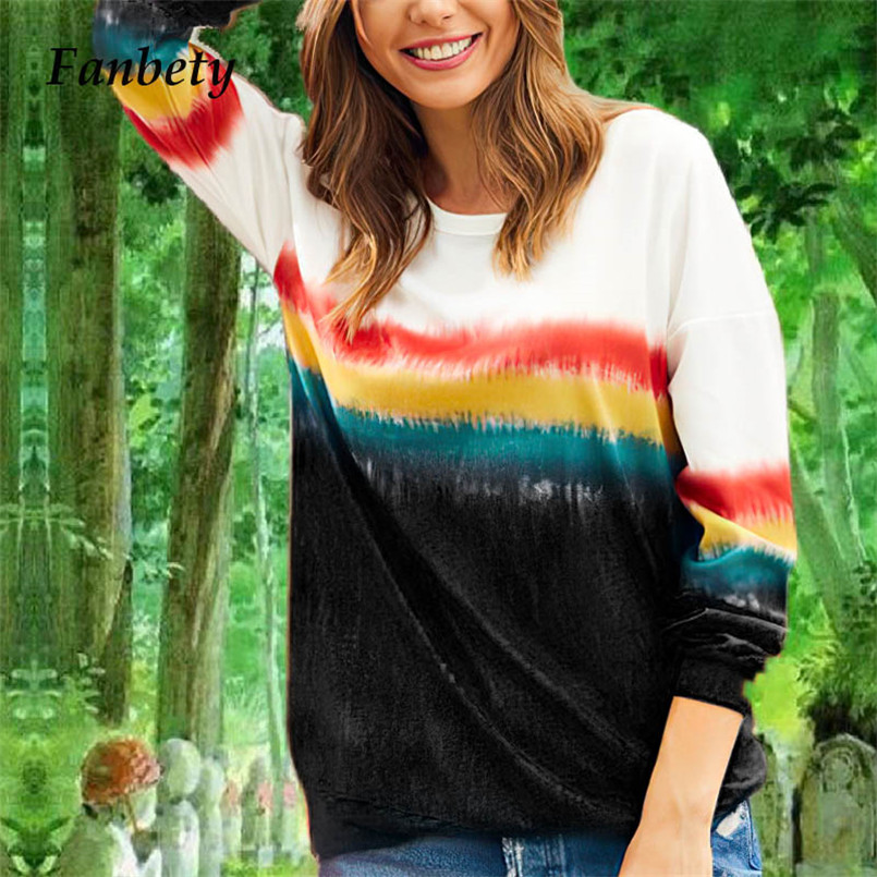 Fanbety Gradient Rainbow Patchwork   blouse     shirts   Women Casual Long Sleeve Basic Top Autumn Winter o neck pullovers Female 2019