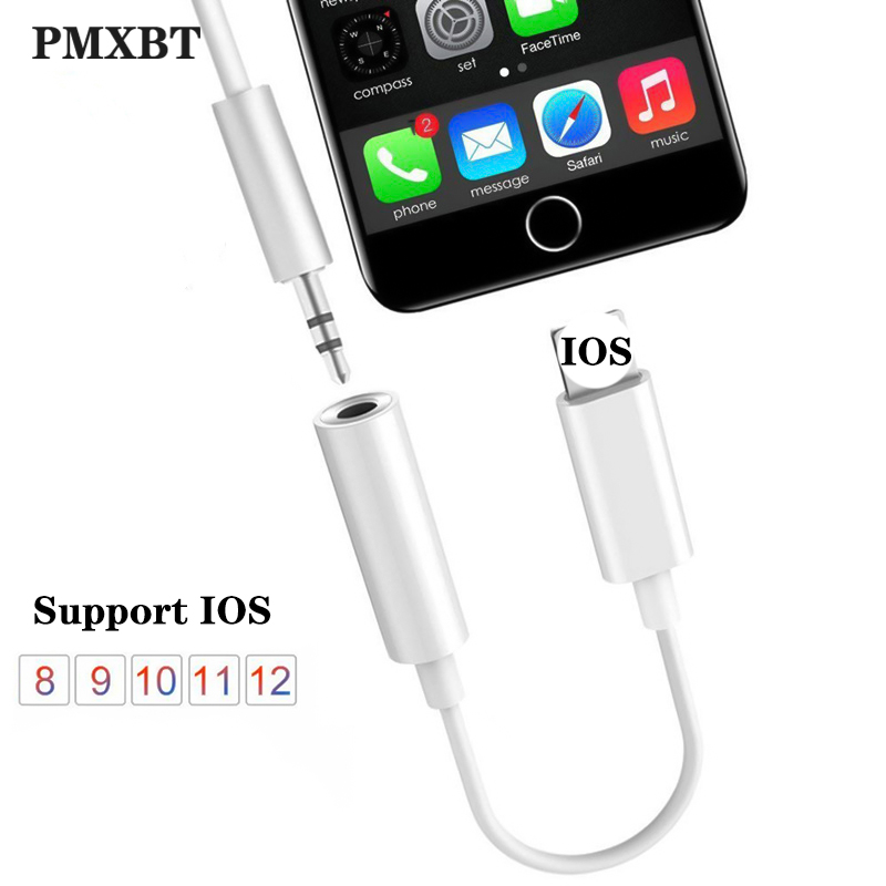For IOS 12 System Headphone Adapter For IPhone 7 8 Plus X AUX Audio Adapter For Lightning To 3.5mm Adaptador Earphone Jack Cable