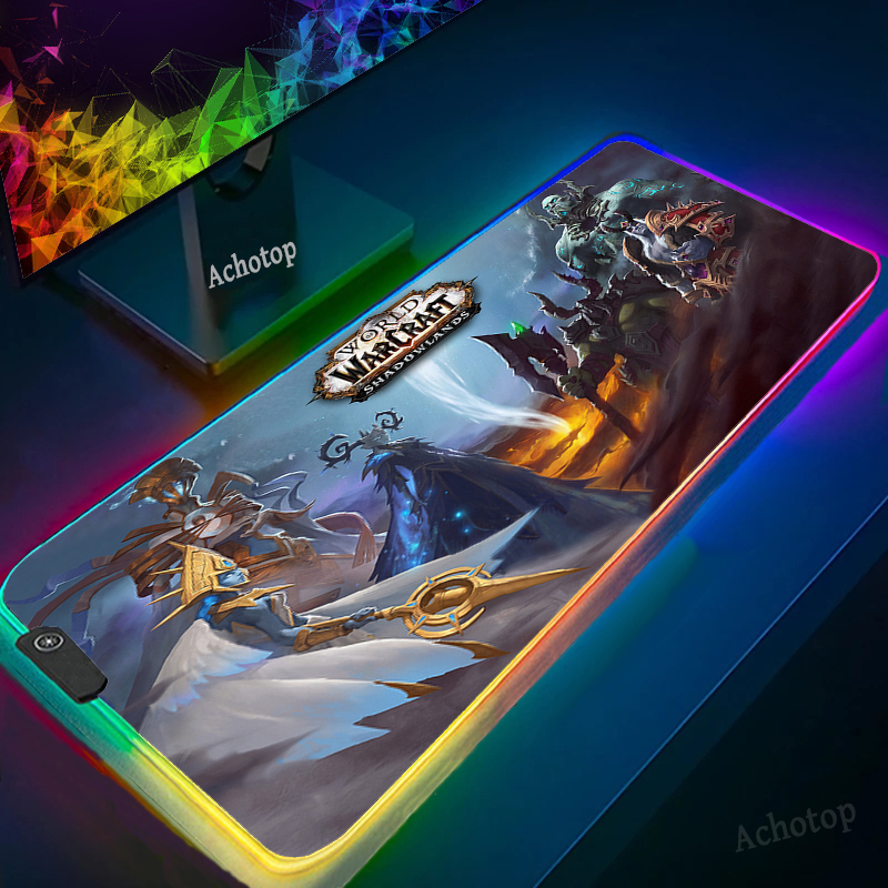 RGB World of Warcraft Horde Laptop Pad Gaming Room Accessories Mat on Desk Mouse Pads Gaming Keyboards Gamer Girl Extended Pad