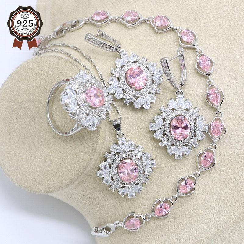 Розовый кубический цирконий серебряный цвет свадебный набор украшений для женщин браслет серьги ожерелье подвеска кольцо подарочная коробка|Ювелирные наборы для невесты|   | АлиЭкспресс