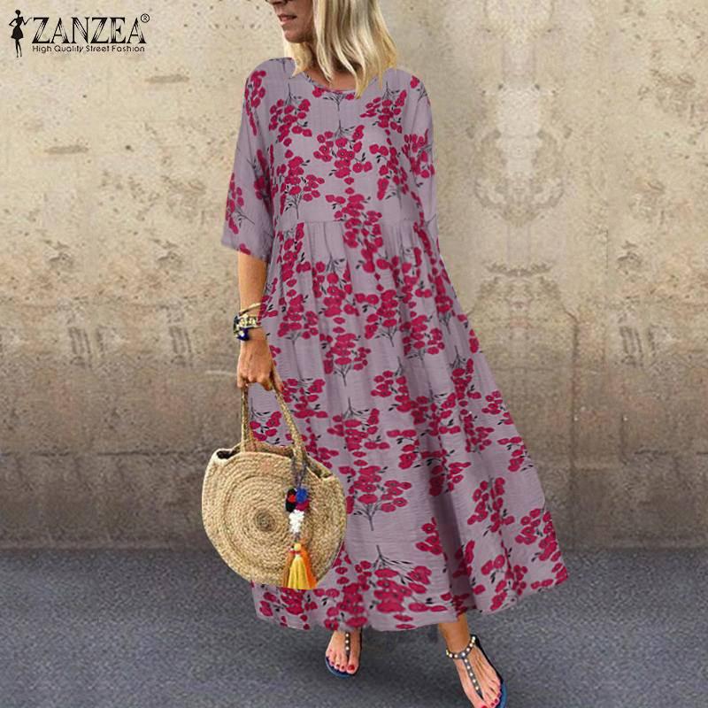 Женское винтажное платье с цветочным принтом ZANZEA, Повседневное платье с рукавом до локтя, богемное платье из хлопка и льна, осень 2019