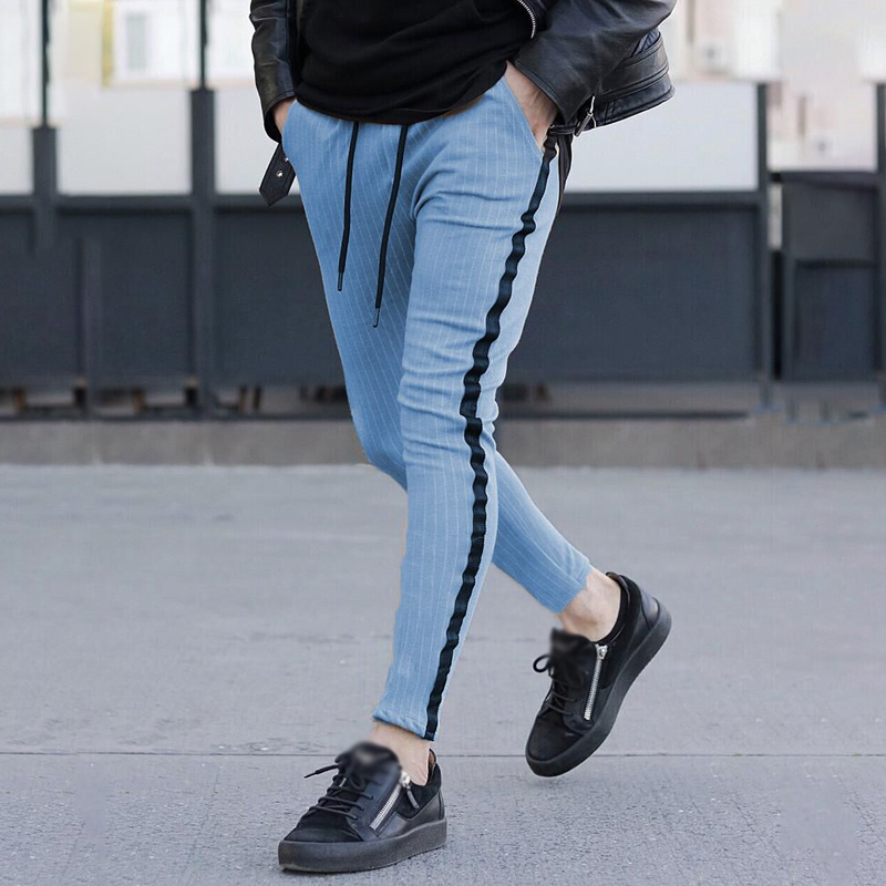 Men's Pants Autumn Winter Printed Striped Tether Pocket Trousers Joggers Casual Sports Skinny Male Pant