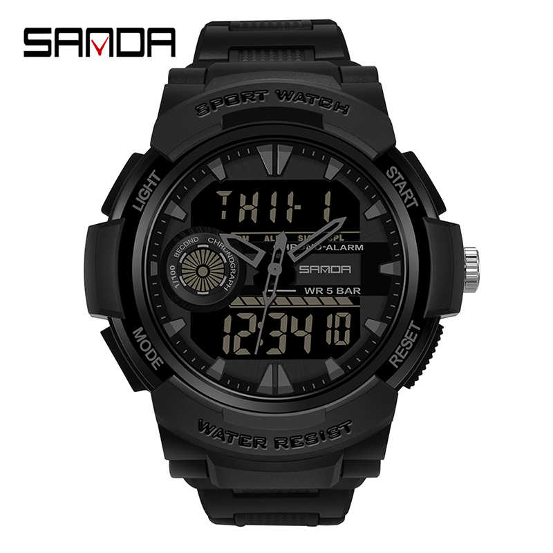 SANDA 시계 남자 스포츠 시계 다기능 크로노 그래프 방수 손목 시계 Relogio 디지털 군사 LED 쿼츠 시계