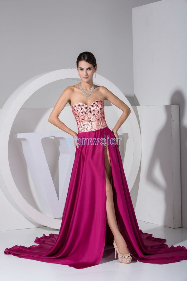 Free Shipping Dresses New Fashion 2014 Custom Size/color Special Occasion Dress Sexy Small Train Chiffon Beading Prom Dresses
