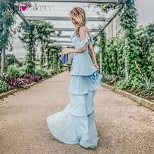 Простые шифоновые вечерние платья, длинные платья Ever Pretty EP07202, а-силуэт, на бретельках, Многослойные оборки, элегантные вечерние платья, Vestidos