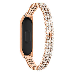 Rose Gold Smart Accessories Watch Strap For Xiaomi Mi Band 4 Replacement Diamonds Stainless Steel Watch Band Strap Bracelet