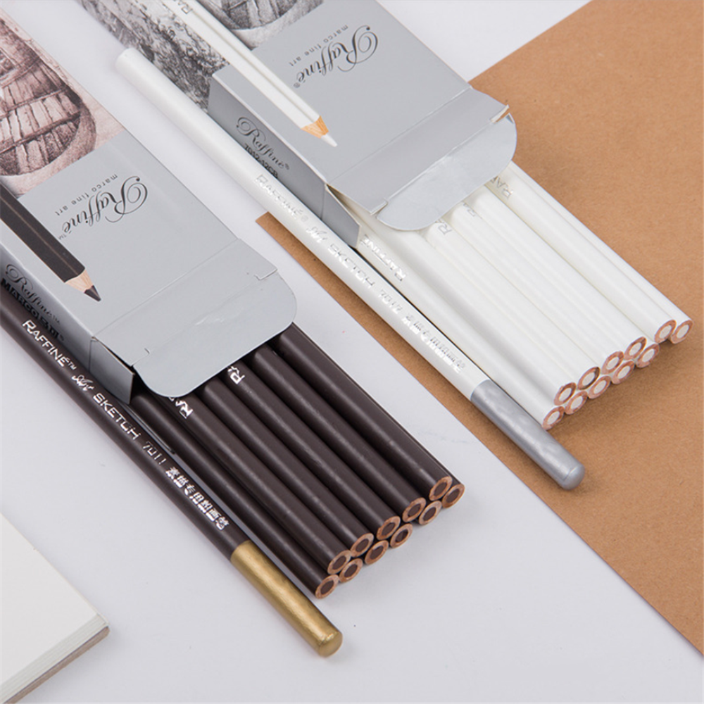 1pc White Sketch Special Powder Brush Brown Pencil Art High-gloss Sketch Charcoal Non-toxic Art Special Brush Student Stationery