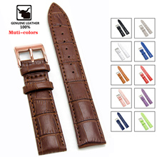 Genuine Leather Watchbands 12 14 16 18 19 20 22 24 mm Watch Steel Pin buckle Band Strap High Quality Wrist Belt Bracelet + Tool cheap SAMCO 22cm Cow Leather New without tags HQ001 11-Color for choice 8-Color for choice Silver Rose-Gold Black