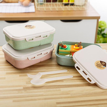 Portable Kids Lunch Box Wheat Straw Bento Boxes Microwave Dinnerware Food Storage Container Student School Lunch Box Container