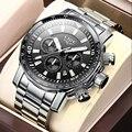 2021 LIGE Top Brand Luxury Mens Watches Full Steel Watch Male Military Sport Waterproof Watch Men Quartz Clock Relogio Masculino