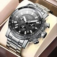 2021 LIGE üst marka lüks erkek saatler tam çelik İzle erkek askeri spor su geçirmez izle erkekler kuvars saat Relogio Masculino