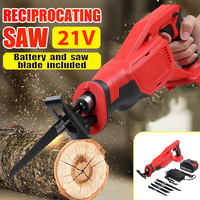 20V Cordless Reciprocating Saw Saber Saw 4000mAh Battery Wood Metal Cutting Saw Portable Electric Saw Rechargeable Power Tool